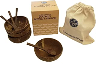 Coconut Bowl with Spoons and Carry bag. Handmade Natural coco bowl ideal for breakfast and picnics. Reusable Family pack - Set of four bowls & Spoons.