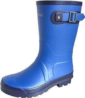 [アマート] 長靴 雨靴 レインシューズ 通学 4色 ボーイズ ガールズ (19.0 cm, ブルー)