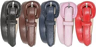 Womens 5pcs Snakeskin Embossed Genuine Leather Dress Skinny Fashion Belts