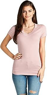 Emmalise Women's Deep V Neck Tshirt Short Sleeves Tee Junior and Plus Sizing