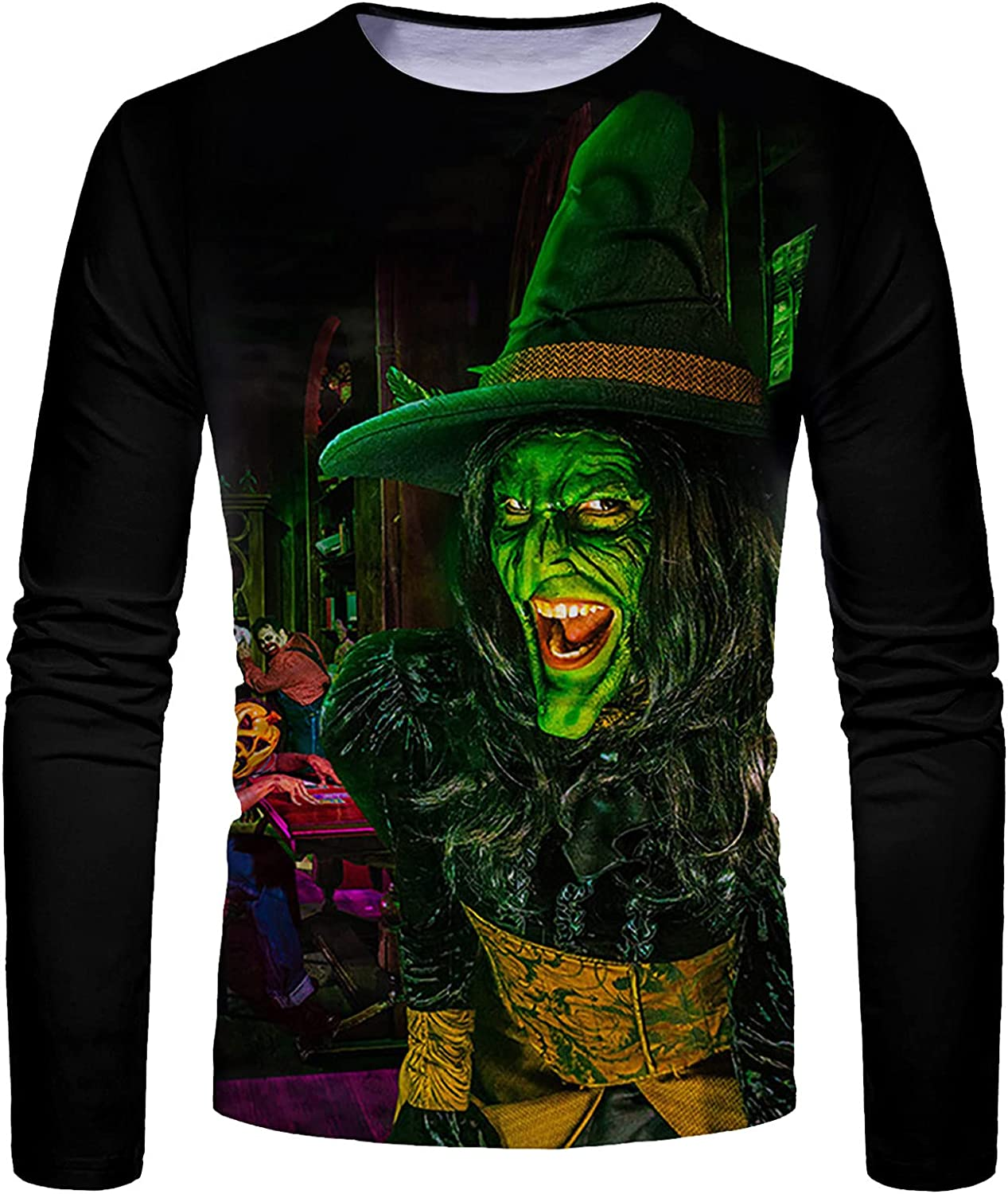 XXBR Halloween Soldier Long Sleeve T-shirts for Mens, Fall Funny Pumpkin Black Cat Bat Print Casual Athletic Tee Tops