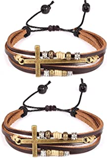 2 Pcs Vintage Handmade Wristband Religious Cross Wrap Bracelets Women Leather Christian Jewelry for Confirmation Gifts, Ad...