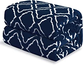 Bedsure Flannel Fleece Blanket Printed - Lattice Scroll - Blanket for Bed, Couch, Car, Office, Camping Travel and Gifts - Queen Size, 90 x 90 inches, Navy