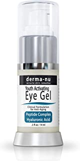 Eye Wrinkle Cream By Derma-nu – Anti Aging Eye Gel Treatment for Dark Circles, Puffiness & Wrinkles - Peptide Collagen Building Formula - Hyaluronic Acid & Amino Acid - .5oz