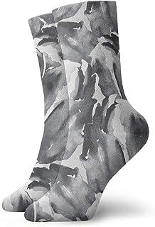 ブラックホワイト水彩花の花チューリップ抽象ミスチーフデザインおしゃれなカラフルなファンキー柄コットンドレスソックス11.8インチ