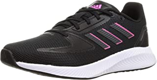 Adidas Runfalcon 2.0 Side-Stripe Back-Logo Lace-Up Running Sneakers for Women - Core Black and Screaming Pink