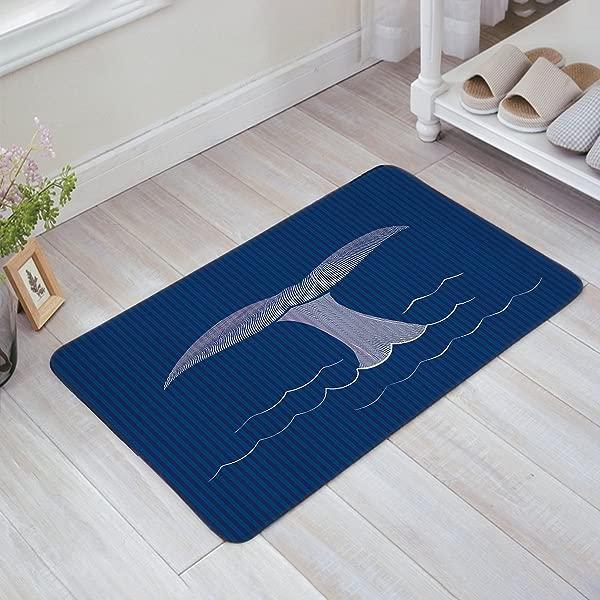 Infinidesign 防滑耐用浴室厨房门垫门口垫子易清洗橡胶背衬的输入方式全天候外门法令》 X 30 卡通鲸鱼的海蓝色