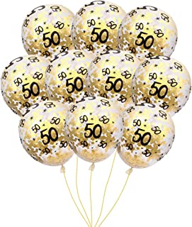 MeySimon 50th Birthday Decorations 15pcs Gold Confetti Balloons Printed 50 Latex Balloon for 50 Year Old Happy Birthday Party Supplies (50th Confetti)
