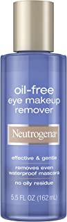 Neutrogena Oil-Free Liquid Eye Makeup Remover, Residue-Free, Non-Greasy, Gentle & Skin-Soothing Makeup Remover Solution with Aloe & Cucumber Extract for Waterproof Mascara, 5.5 fl. oz