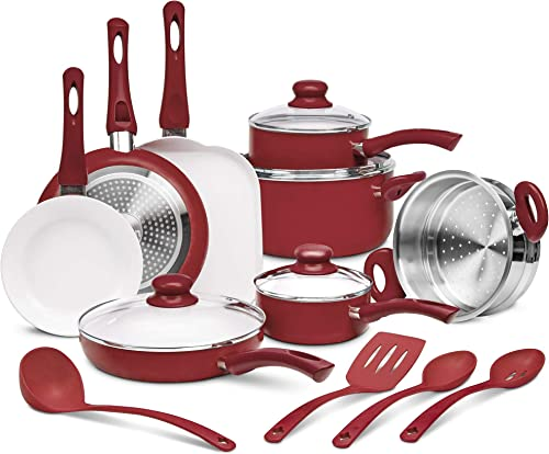 high quality Ivation Ceramic Cookware | 16-Piece Nonstick online sale Cookware Set with Induction Base, SoftGrip Handles & Clear Glass Lids | Compatible with Induction, Ceramic, Gas, Electric & Halogen Cooktops | discount Red outlet online sale