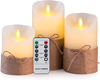 Aku Tonpa Flameless Candles Battery Operated Pillar Real Wax Flickering Moving Wick Electric LED Candle Gift Set with Remote Control and Timer, 4