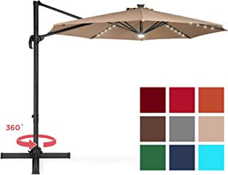 Best Choice Products 10-Foot Solar LED 360 Degree Aluminum Polyester Cantilever Offset Market Patio Umbrella Shade w/Easy Tilt and Smooth Gliding Handle, Tan