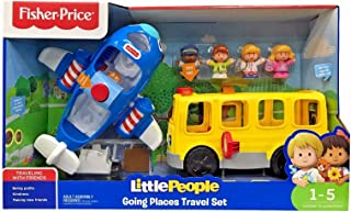 Fisher-Price Interactive Sit with Me School Bus and Travel Together Airplane Bundle with 4 Little People:Bus Driver Emily, Pilot Kurt, Eddie and Emma. Playtime Activated Fun Lights, Sounds and Songs!