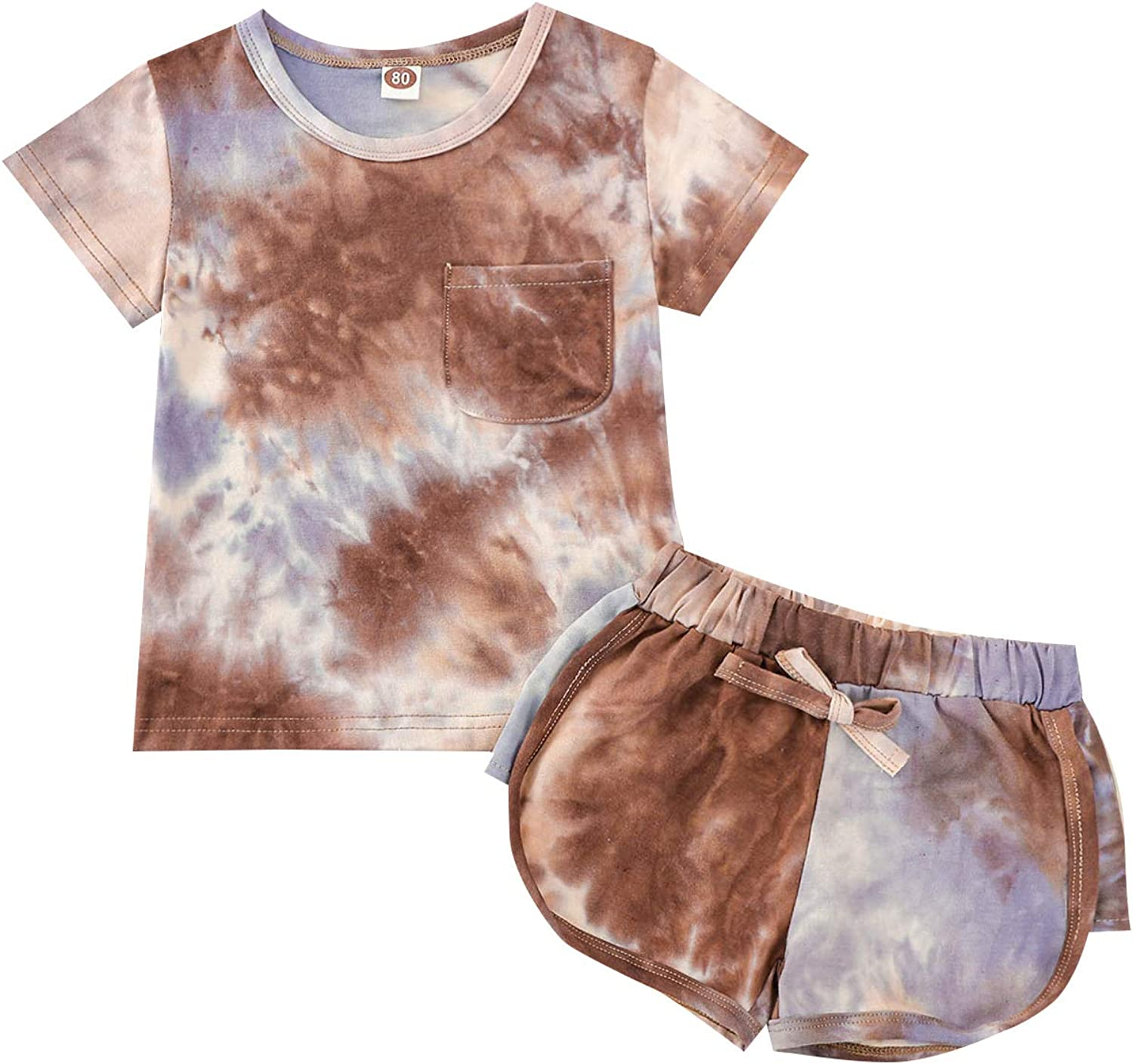 Toddler Boy Girl Outfit Short Sleeve Pocket Top T-Shirt Shorts Tie Dye Baby Summer Clothes