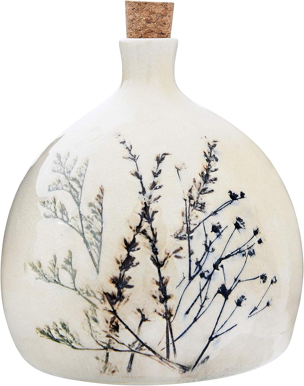 Spasm price Creative Co-Op 32 5% OFF oz. Stoneware with Cork Debossed Bottle Floral