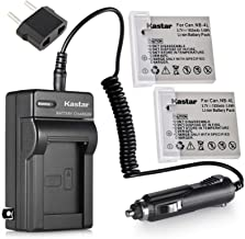 Kastar 2Pcs Battery + Charger Replacement for Canon PowerShot SD1000 SD1100IS SD1400IS SD200 SD30 SD300 SD400 SD430 SD600 ...