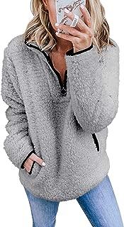 ADREAMLY Women Long Sleeve Quarter Zipper Sherpa Sweatshirt Fleece Pullover Outwear Coat