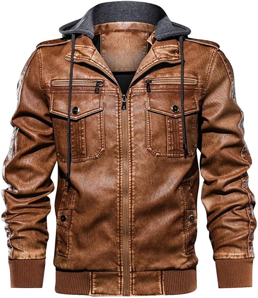 Mens Leather Jacket Aviator Jacket Motorcycle Suit Warm Flight Leisure Jacket Detachable Hood Blousons