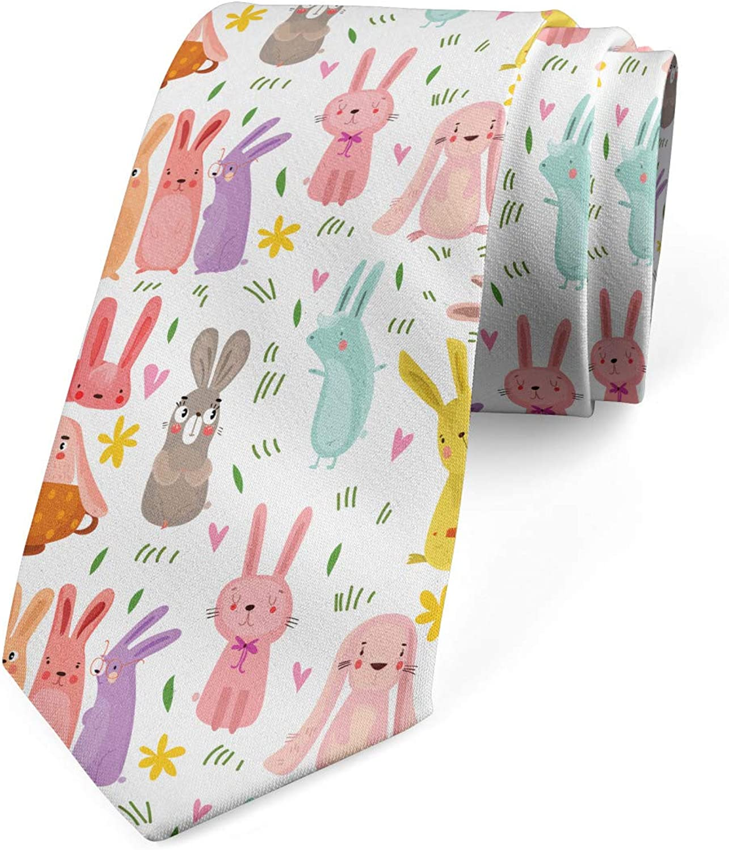 Ambesonne Men's Tie, Colorful Rabbits Pink Hearts, Necktie, 3.7
