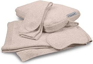 Jet&Bo 100% Cashmere Travel Set: Blanket, Eye Mask, Socks, Carry/Pillow Case Natural