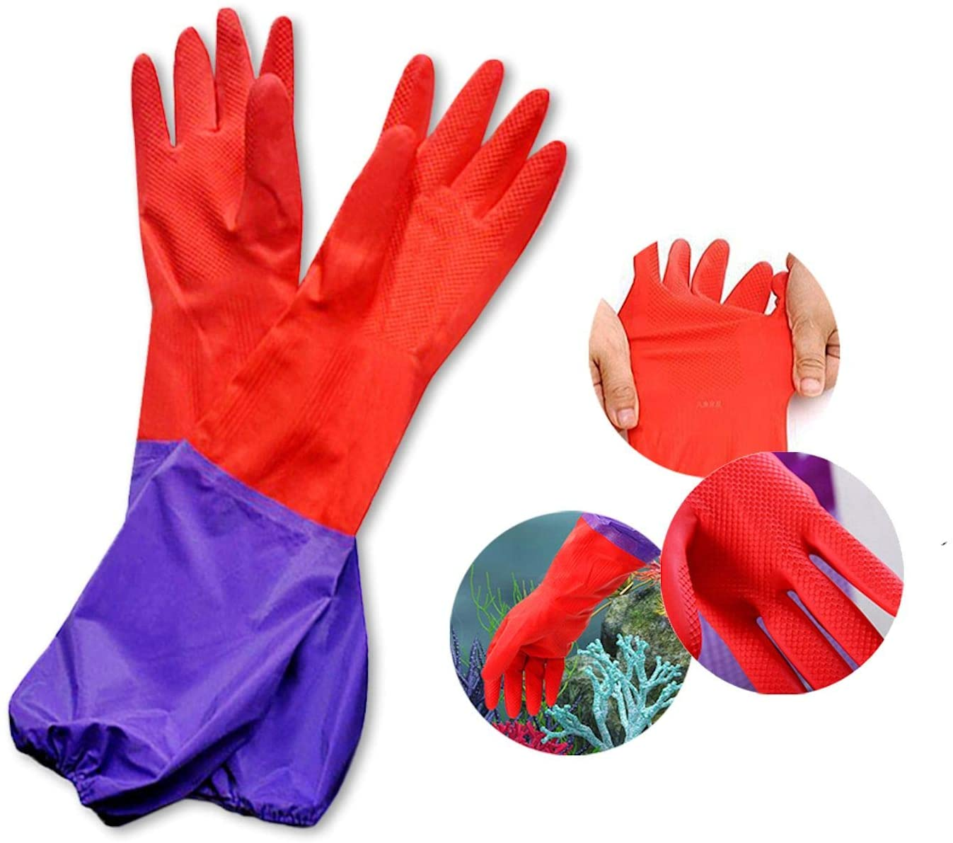 SunGrow Aquarium Water Change OFFicial mail order Gloves Translated No-Skid Inches Long 19.6