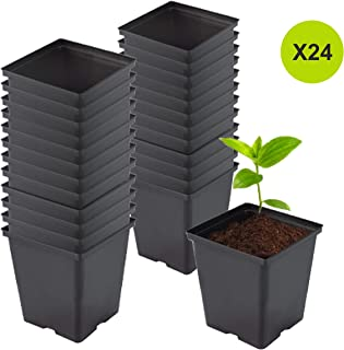 TopoGrow 1/2 Gallon 24-Packs Square Black Plastic Nursery Plant Pots/Flower Plastic Pots for Plant Growing