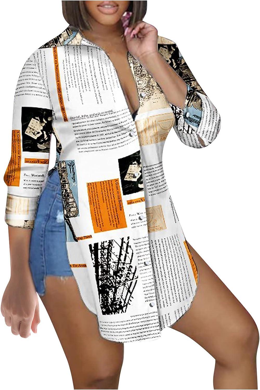 Women's Button Down Tunic Tops Tie Dye Side Split Fashion Tie Dye Letter Print Long Sleeve Turn Down Collar Blouses Shirt