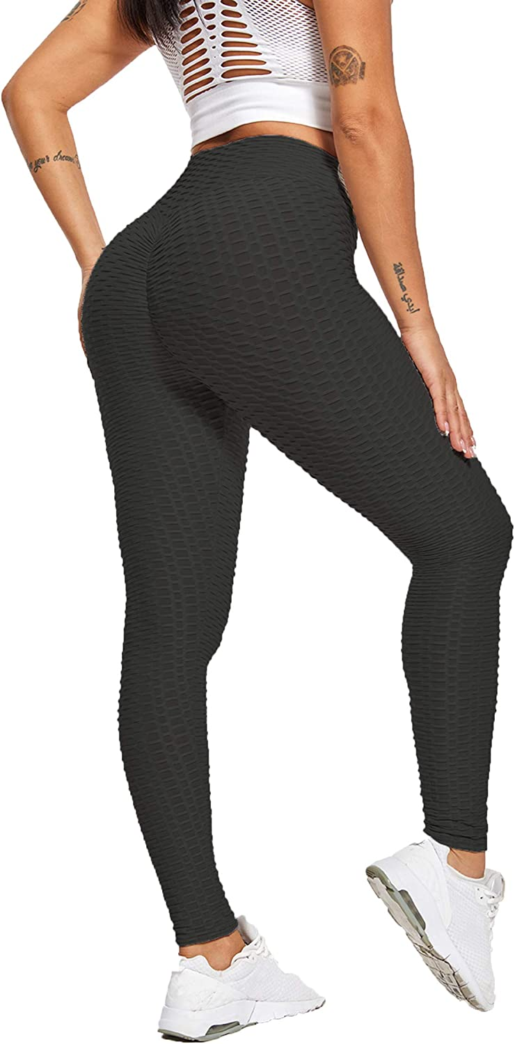 Women's Texture Leggings Booty Yoga Pants High Waist Ruched Workout Butt Lifting Tummy Control Pants