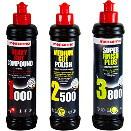 Menzerna 250ml Heavy Cut Compound 1000 Medium Cut Polish 2500 Super Finish 3800 250ml Auto