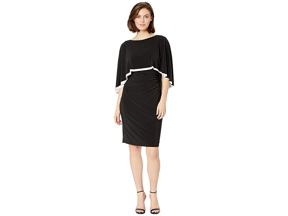 LAUREN Ralph Lauren 3RA Matte Jersey Abriel Day Dress (Black/Lauren White) Women
