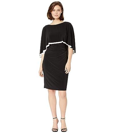 LAUREN Ralph Lauren 3RA Matte Jersey Abriel Day Dress (Black/Lauren White) Women
