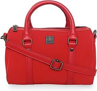 ESBEDA Red Color Solid Pattern Soft Suede Handbag For Women