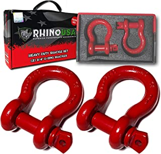 "Rhino USA D Ring Shackle (2 Pack) 41,850lb Break Strength – 3/4"" Shackle with 7/8 Pin for use with Tow Strap, Winch, Off-Road Jeep Truck Vehicle Recovery, Best Offroad Towing Accessories (RED Gloss)"