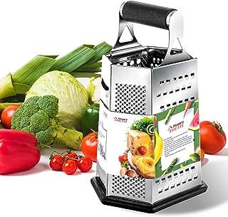 THETIS Trancheuse à Fromage Râpe Légumes 6 côtés, 9,5 Pouces de Hauteur - Acier Inoxydable, Avec Poignée en Caoutchouc et ...
