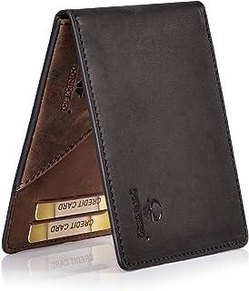 DONBOLSO Geldbörse Madrid mit Münzfach Leder Herren Mini Geldbeutel Flach RFID Portemonnaie Geldklammer Slim Wallet Brieftasche Männer Schwarz Braun