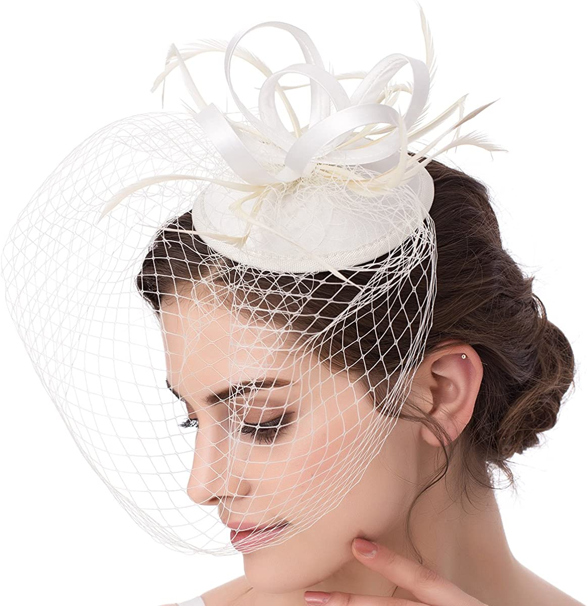 Abaowedding 100% quality warranty Feather Fascinator Popularity Cocktail Party Hair Pillbox Clip