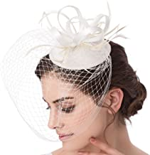 Abaowedding Feather Fascinator Cocktail Party Hair Clip Pillbox Hats