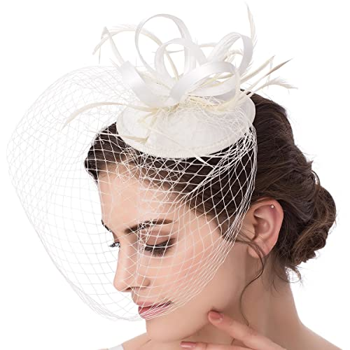 5842c1c0b7612 Abaowedding Feather Fascinator Cocktail Party Hair Clip Pillbox Hats