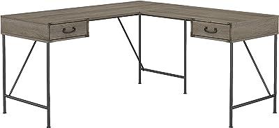 Bush Furniture Ironworks 60W L Desk, Restored Gray