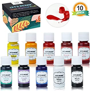 LET'S RESIN 10 Colors Resin Dye -High Concentrated Epoxy Resin Color Pigment Paste - Resin Colorant for Epoxy Resin Coloring, Resin Jewelry(Each Bottles 0.35oz)