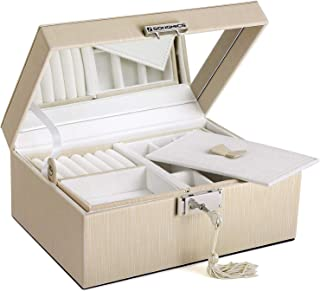 SONGMICS SONGMICS 2-Layer Jewelry Box, Lockable Jewelry Organizer, with Full Length Inside Mirror, Foldable Top Tray, Removable Divider, Thickened Frame, Gift for Loved Ones, Mother's Day Gift, Beige, UJBC231BE, faux_leather, Beige, 8.7''L x 6.3''W x 3.9''H
