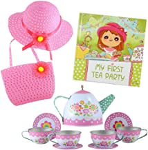 Tea Party Gift Set- Includes Book, Tea Set, Hat, and Purse. Perfect Pretend Play for Toddlers and Little Girls Age 2 3 4 5 6 7 Years- My First Tea Party!