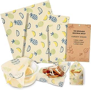 iTrunk Bees Wrap Wachspapier 3er-Pack, Wachspapier für Lebensmittel, Nachhaltige, Kunststofffreie Lagerung von Käse, Obst, Gemüse und Brot 1x Klein/1x Mittel/1x Groß