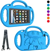 LTROP All-New Fire 7 Tablet Case, Fire 7 2019/2017 Case for Kids - Light Weight Shock Proof Handle Stand Child-Proof Case for Fire 7-inch Display Tablet Bumper Cover (2019&2017 Release) - Blue
