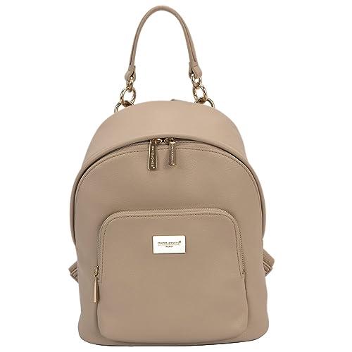 226b6aadbf DAVIDJONES Women s Faux Leather Medium Chains Backpack Shoulder Bag Travel  Purse