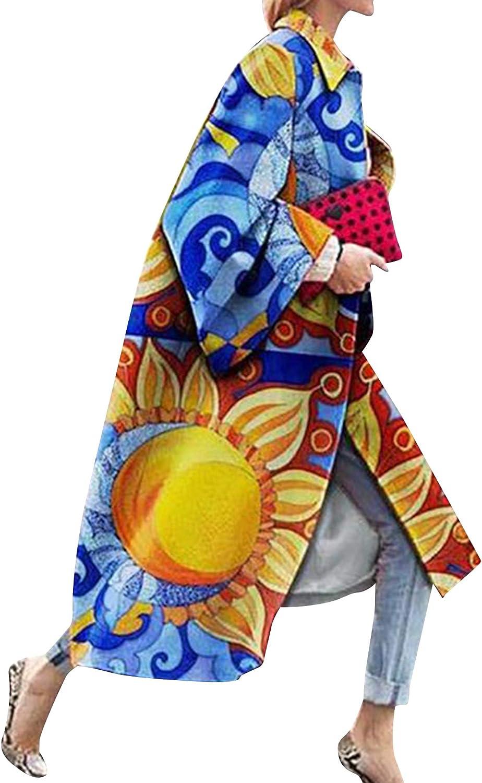 OMZIN Women's Fashion Long Trench Coat Flared Sleeves Pocket Overcoat Kimono Jacket