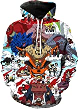 CHENMA Men Naruto 3D Print Pullover Hoodie Sweatshirt with Front Pocket