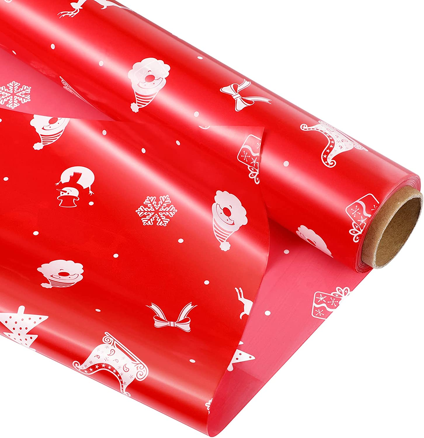 ABOOFAN Christmas Cellophane Wrap Easy-to-use Very popular Roll Red Wrappin 2. Mil 5