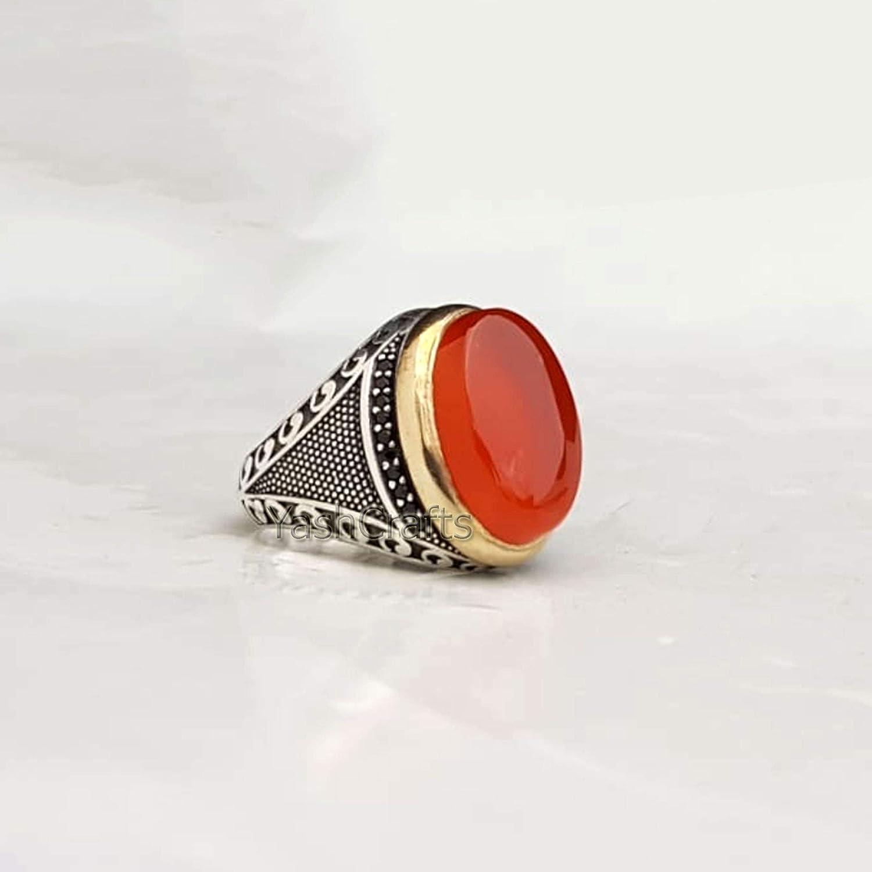 Natural Carnelian Men's Ring Super sale 925 Sterling Under blast sales Jewel Gemstone Silver