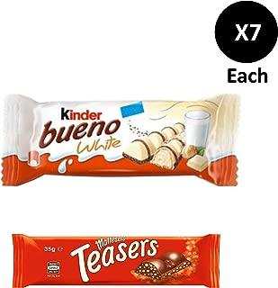 Kinder Bueno White Chocolate Bar 7 x39g + Maltesers Teasers Bar 7 x35g.